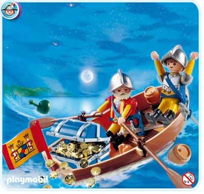 4295 Soldats avec barque et trésor